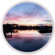 Round Beach Towel featuring the photograph Summer House by Laura Fasulo