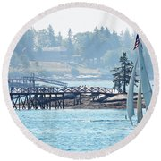 Summer In Maine Round Beach Towel