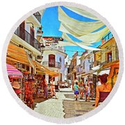 Round Beach Towel featuring the photograph Summer In Malaga by Mary Machare