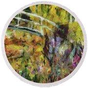 Summer In Monet's Garden Round Beach Towel by Dragica Micki Fortuna
