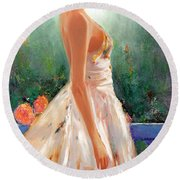 Round Beach Towel featuring the painting Summer In Provence by Michael Rock