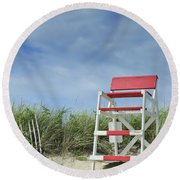 Summer In Red White And Blue Round Beach Towel