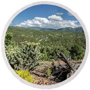 Round Beach Towel featuring the photograph Summer In Santa Fe by Margaret Pitcher