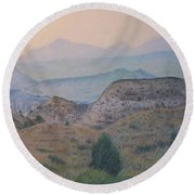 Summer In The Badlands Round Beach Towel