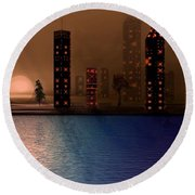 Round Beach Towel featuring the digital art Summer In The City by David Dehner