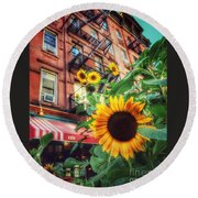 Summer In The City - Sunflowers Round Beach Towel