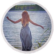 Summer In The Light And Winter In The Shade Round Beach Towel by Agnieszka Mlicka