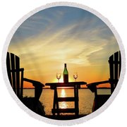 Summer In The River Round Beach Towel