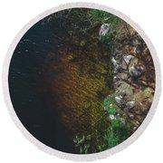 Summer Lake - Aerial Photography Round Beach Towel
