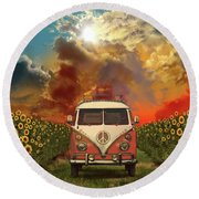 Summer Landscape 3 Round Beach Towel