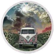 Summer Landscape 4 Round Beach Towel