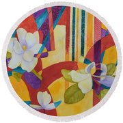 Round Beach Towel featuring the painting Summer Magnolias by Nancy Jolley