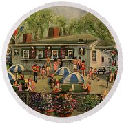 Round Beach Towel featuring the painting Summer Memories At Pizzi Farm by Rita Brown