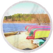 Round Beach Towel featuring the photograph Summer Memories by Wade Brooks