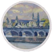 Summer Meuse Bridge, Maastricht Round Beach Towel