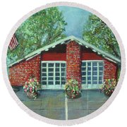 Summer Morning At Trapelo Road Fire Station Round Beach Towel