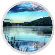 Summer Morning On The Lake Round Beach Towel