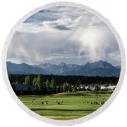 Summer Mountain Paradise Round Beach Towel