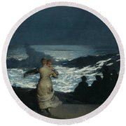 Summer Night Round Beach Towel by Winslow Homer