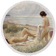 Summer On The Beach Round Beach Towel by Paul Fischer