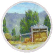 Summer On The Ranch Round Beach Towel