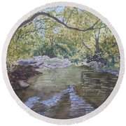 Round Beach Towel featuring the painting Summer On The South Tow River by Joel Deutsch
