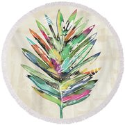 Round Beach Towel featuring the mixed media Summer Palm Leaf- Art By Linda Woods by Linda Woods