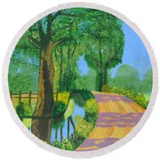 Round Beach Towel featuring the painting Summer Path by Magdalena Frohnsdorff