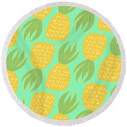 Summer Pineapples Round Beach Towel by Allyson Johnson