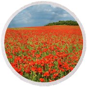 Summer Poppies In England Round Beach Towel