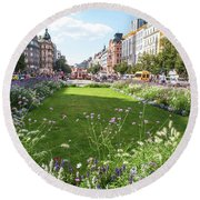 Round Beach Towel featuring the photograph Summer Prague by Jenny Rainbow