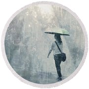 Summer Rain Round Beach Towel