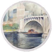 Round Beach Towel featuring the painting Summer Rain by Marilyn Jacobson