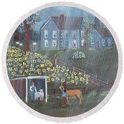Round Beach Towel featuring the painting Summer Rain by Virginia Coyle