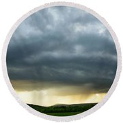 Round Beach Towel featuring the photograph Summer Rainstorm by Alana Ranney