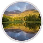 Summer Reflections At The Torren Lochan Round Beach Towel