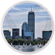 Summer Sailing On The Charles Round Beach Towel