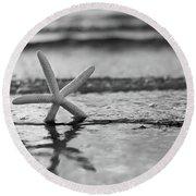 Summer Sea Star Black And White Round Beach Towel