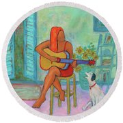 Round Beach Towel featuring the painting Summer Serenade II by Xueling Zou