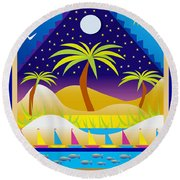 Round Beach Towel featuring the digital art Summer Serenity by Nancy Griswold