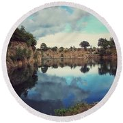 Summer Sky At The Quarry Round Beach Towel by Karen Stahlros