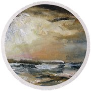 Round Beach Towel featuring the painting Summer Sky by Michael Helfen