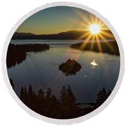 Round Beach Towel featuring the photograph Summer Solstice Emerald Bay by Mitch Shindelbower