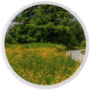 Summer Solstice In Forest Park Round Beach Towel by Garry McMichael