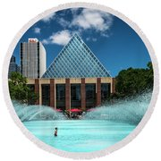 Round Beach Towel featuring the photograph Summer Splash Downtown Edmonton by Darcy Michaelchuk