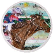 Summer Squall Horse Racing Round Beach Towel by Mindy Newman