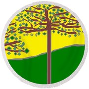 Summer Stained Glass 2 Round Beach Towel by Linda Velasquez