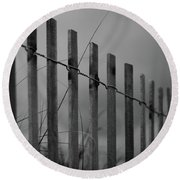Round Beach Towel featuring the photograph Summer Storm Beach Fence Mono by Laura Fasulo