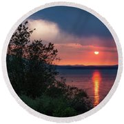 Round Beach Towel featuring the photograph Summer Storm by Jan Davies