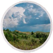 Summer Storm Over The Dunes Round Beach Towel